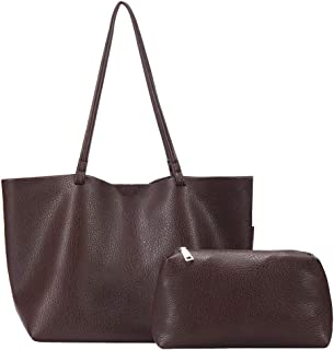 Women's Soft PU Leather Tote Shoulder Bag from HORSE&TIGER, Minimalist Litchi Texture Handbag