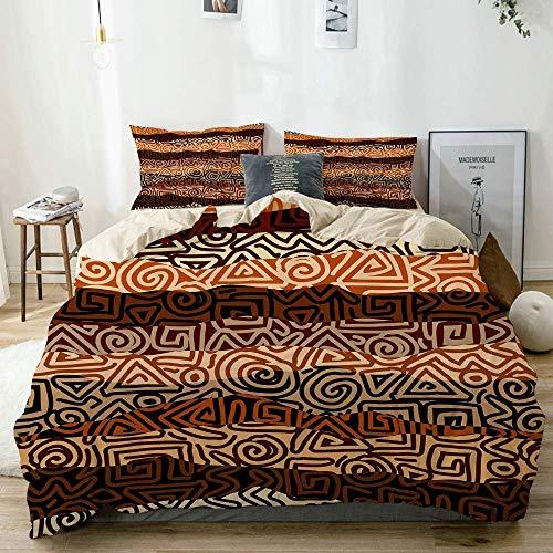 Juego de funda nórdica beige, patrón de golpes étnicos en colores marrones, antiguas líneas curvas en espiral, figuras africanas, juego de cama decorativo de 3 piezas con 2 fundas de almohada, fácil c