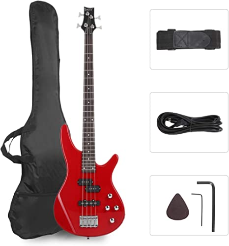 GLARRY Bass Guitar Full Size 4 String Exquisite Stylish Bass with Guitar Bag Power Line and Wrench Tool (Red)