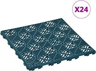 UnfadeMemory Pack of 24 uds Losetas para Suelo de Plástico para Interior o Exterior Jardín Garaje Terraza Patio,Resistente a la Intemperie,Cada Uno 29x29x0,8cm (Verde Oscuro)