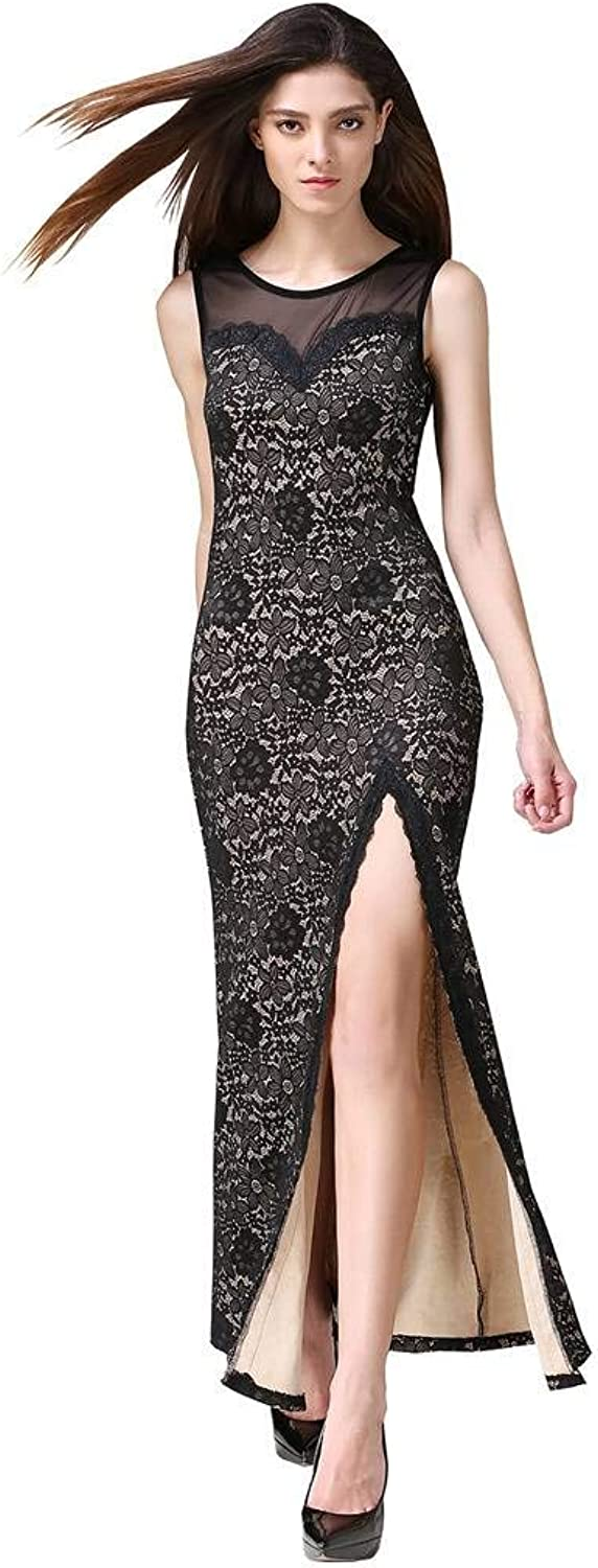 Buenos Ninos Women's Sleeveless Floral Lace Split Side Long Evening Gown Dress