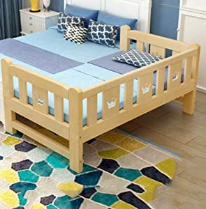GHGJU Children s bed multi-functional widening children s bed detachable stitching solid wood bed crib Give children comfortable sleeping environment  Color Wood  Size 150 40