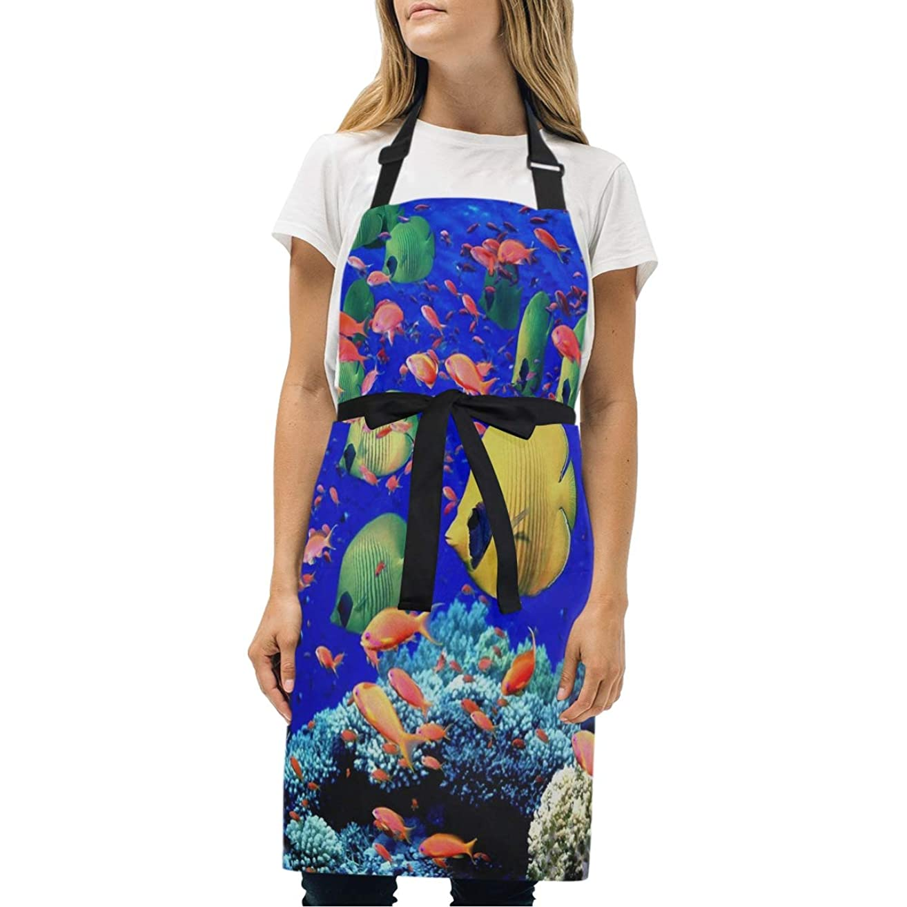 HJudge Womens Aprons Beautiful Underwater World Kitchen Bib Aprons with Pockets Adjustable Buckle on Neck
