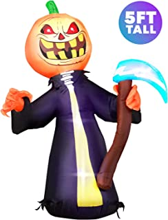 Holidayana 5 ft Pumpkin Head Grim Reaper with Scythe Halloween Inflatable, Spooky Weather Resistant Inflatable Decorations with LED Lights, Built-in Fan, and Tie-Downs