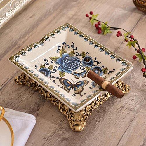 Asbak Liuyu · Woonhuis Blauwe Vlinder Bloem Patroon Keramische Mode Ideeën Ice Crack Porselein Home Decoraties Woonkamer Koffie Tafel Eettafel Decoratie (20 * 17 * 7cm)