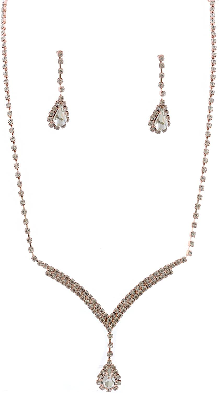Topwhoelsalejewel Fashion Jewelry Set Rose Gold Plating Necklace Earrings Set