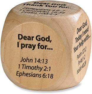 Wooden Prayer Cube with Prayer Starters and Corresponding Bible Verses, 1 5/8 Inch
