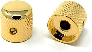Vintage Forge Gold Metal Dome Knobs for Fender Telecaster Guitar and Precision P-Bass (Set of 2) 1/4 Inch Solid Shaft DK50US-GLD