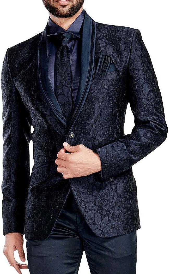 INMONARCH Mens Dark Navy 5 Pc Tuxedo Suit Self Design TX1712