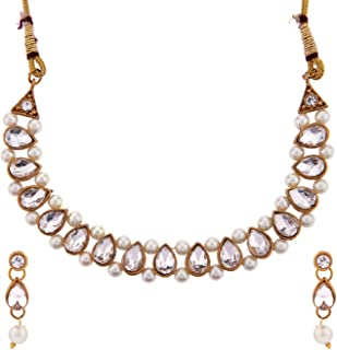 Efulgenz Fashion Chunky Crystal Faux Pearl Vintage Placcato Oro Antico Collana Girocollo Orecchini Collana Girocollo