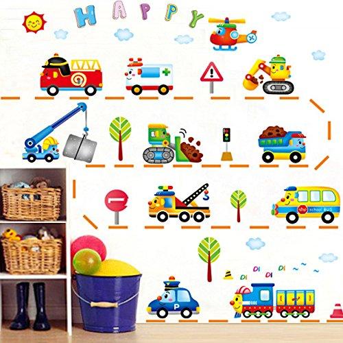 Mznm verwijderbare muursticker, cartoon auto trein truck, kinderkamer jongen bed, slaapkamer badkamer Sticker