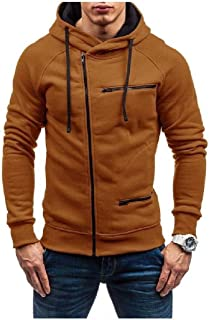 Mogogo Men's Comfy Zip Up Vogue Long Sleeve Solid Hooded Fleece Sweatshirt Top