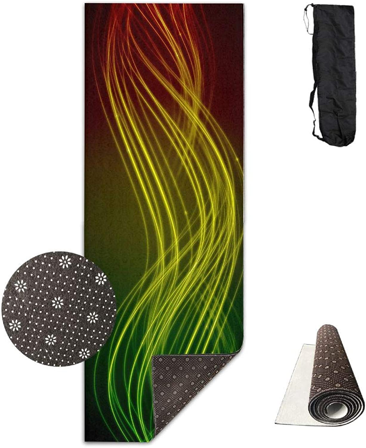 Yoga Mat Non Slip 24  X 71  Exercise Mats Abstract Lines Premium Fitness Pilates Carrying Strap