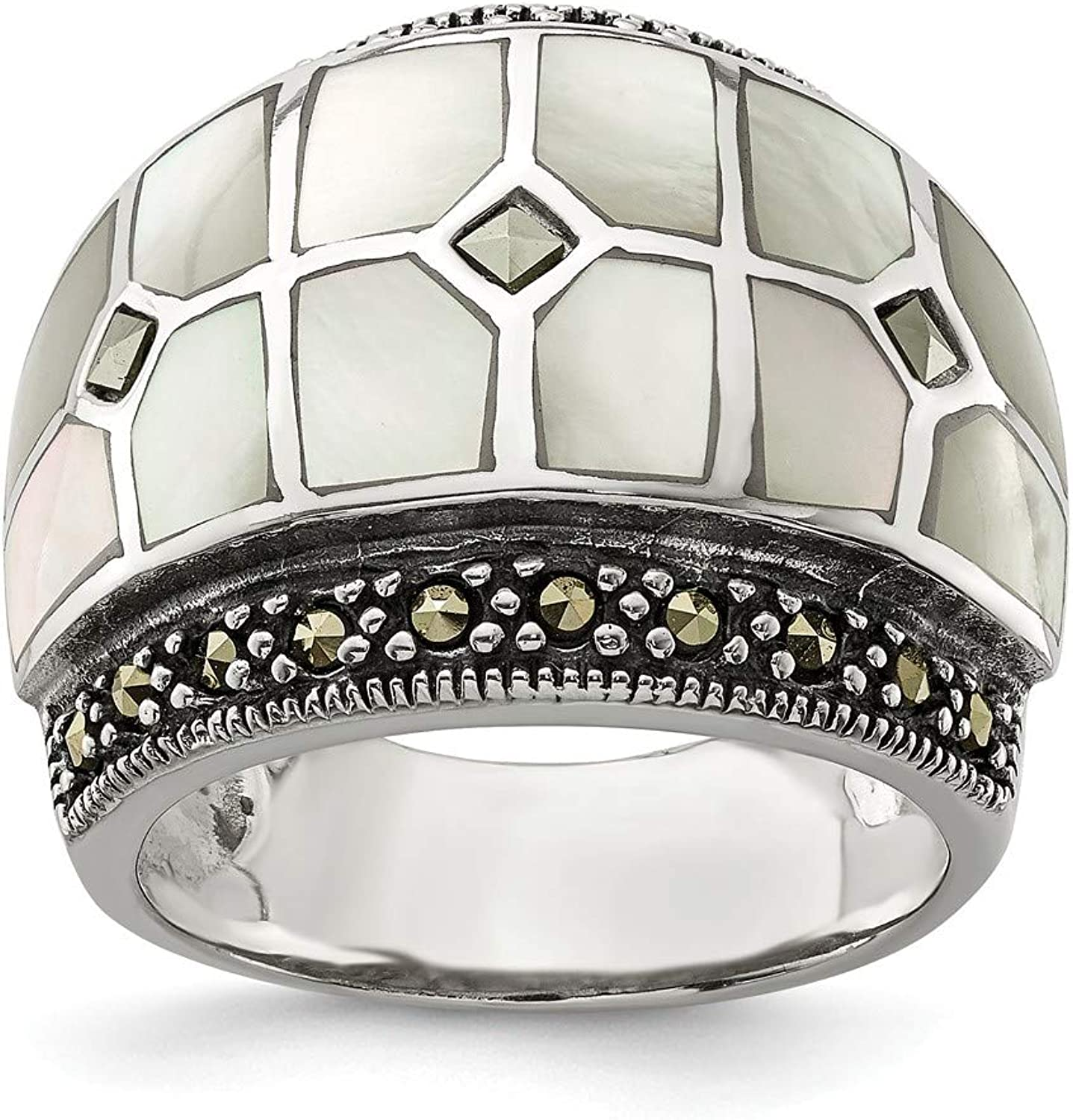 Beautiful Sterling silver 925 sterling Sterling Silver Marcasite & Mother of Pearl Ring