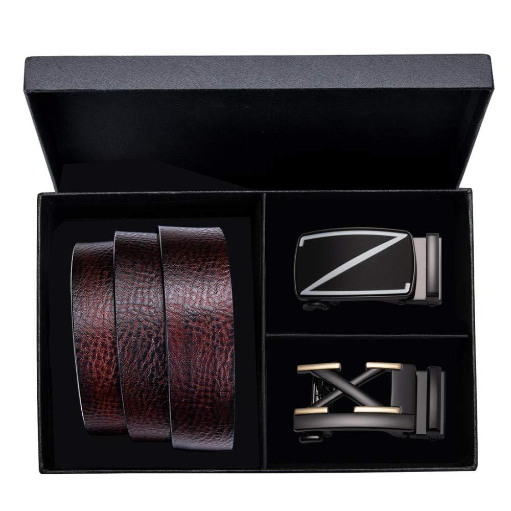 YUANZYYD Cinturón De Hombre,Cinturones De Cuero Marrón para Hombres Vaqueros De Moda Cinturón Casual Hebillas Dobles Cinturón De Hebilla Automático con Caja De Regalo@120Cm: Amazon.es: Deportes y aire libre