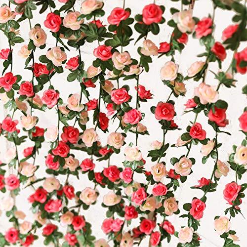 PARTY JOY 5 pcs Flower Garland Fake Rose Vine Artificial Flowers Hanging Rose Ivy Hanging Baskets Wedding Arch Garden Background Decor
