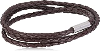 Men's Braided Brown Leather Wrap Wristband Bracelet