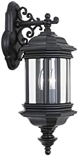 Sea Gull Lighting 8840-12 Hill Gate Two-Light Outdoor Wall Lantern with Clear Beveled Glass Panels, Black Finish