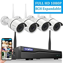 ?2020 New 8CH Expandable?OHWOAI Security Camera System Wireless, 8CH 1080P NVR, 4Pcs 1080P HD Outdoor/ Indoor IP Cameras,Home CCTV Surveillance System (No Hard Drive)Waterproof,Remote Access,Plug&Play