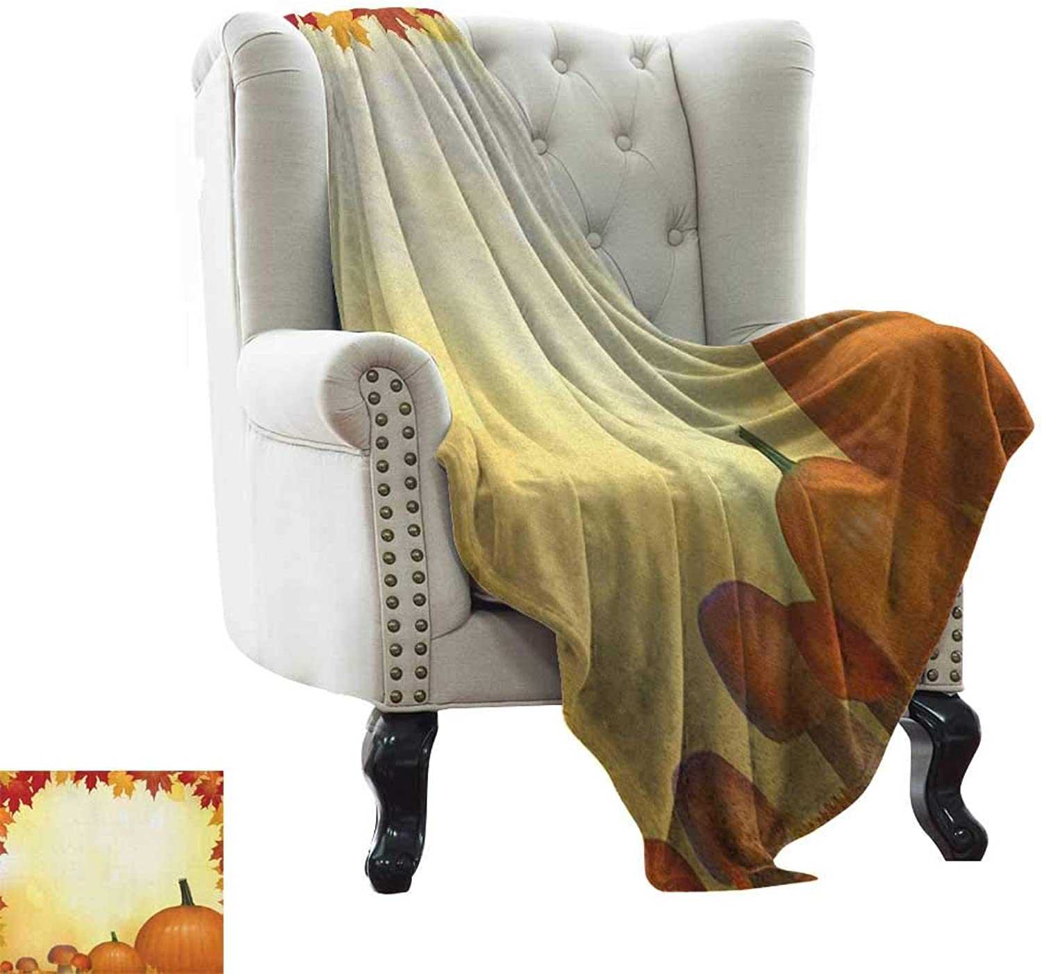 BelleAckerman Weighted Blanket for Kids Harvest,Mushrooms and Pumpkins with Autumn Tree Leaves Framework Bokeh Effect, Pale Yellow orange Red 300GSM,Super Soft and Warm,Durable Throw Blanket 35 x60