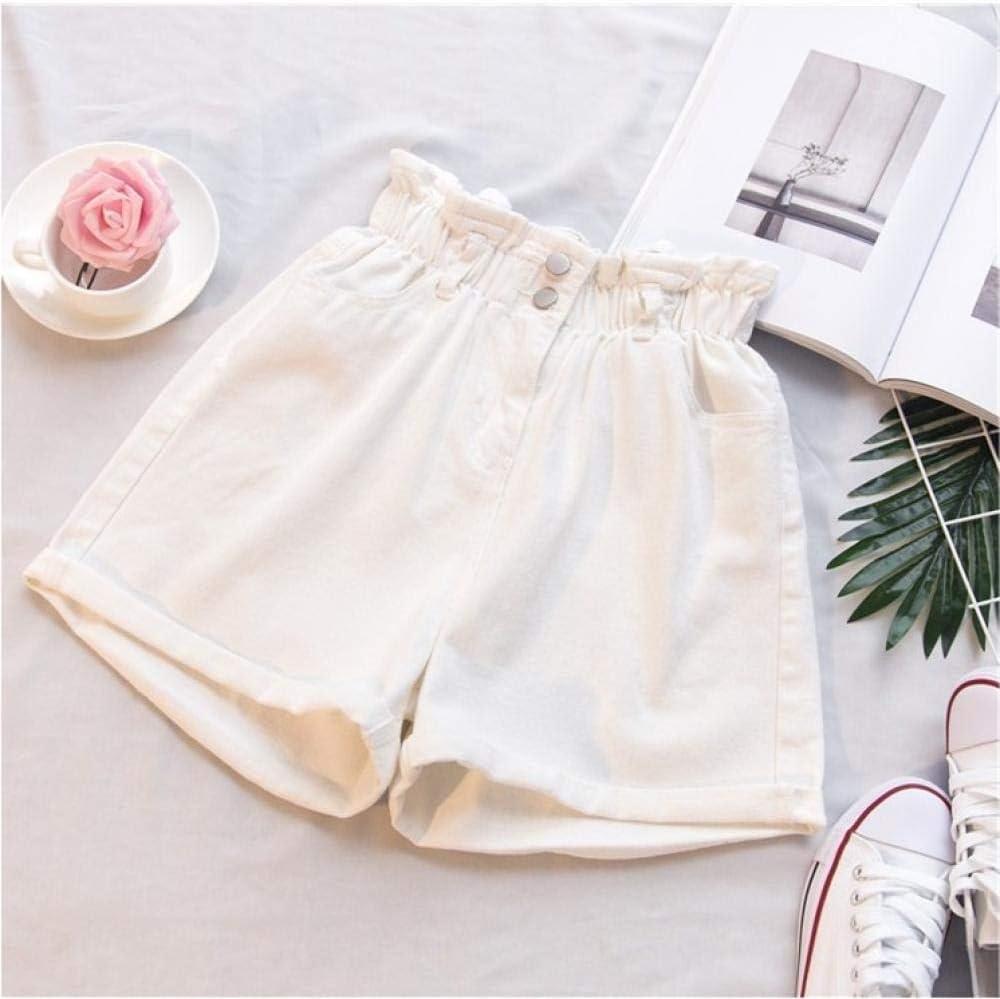 CDDKJDS Women Summer Black Women S Denim Shorts Plus Size Large Size 5XL Harem Ruffle White High Waisted Shorts Elastic Waist Jeans (Color : White, Size : L)