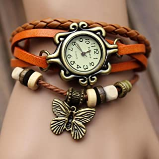 Weave Womens Leather Bracelet GIap Rivet Analog Quartz Bracelet GIist Watch