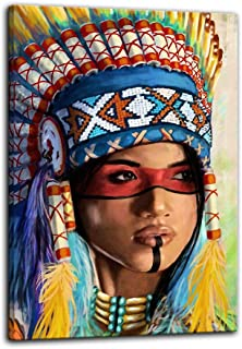 Urttiiyy Indian Girl Chief Native American Canvas Wall Art Feathered Women Prints Gifts Home Decor Decals for Bedroom Posters Pictures Paintings Framed Ready to Hang (16''Wx24''H, Artwork-04)