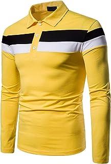 Elegeet Men's Slim Fit Contrast Color Long Sleeve T-Shirt Athletic Polo Shirt