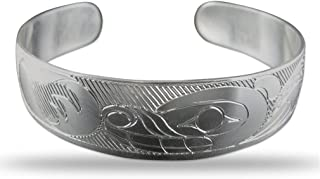 Sterling Silver Bear Pacific Northwest Coast Native 1/2 Inch Wide Bracelet