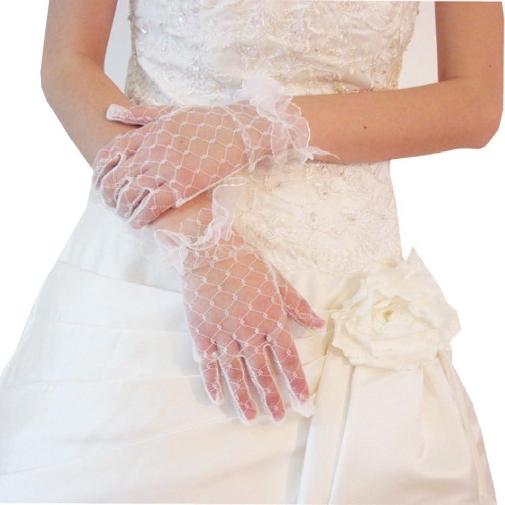 Fenghuavip Bride Mitten off-White Net Wedding Dress Gloves