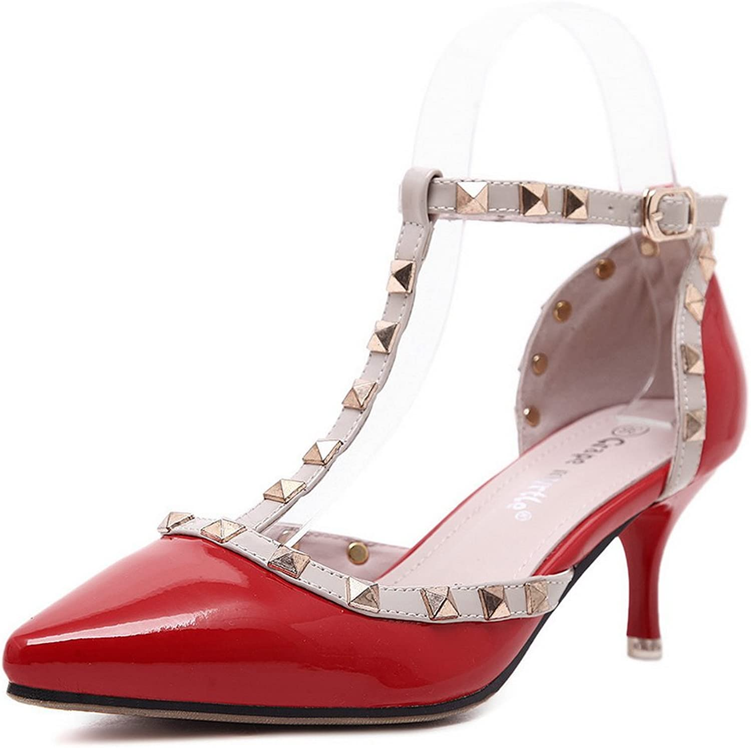 1TO9 Womens Grommets Pointed-Toe Buckle Urethane Pumps shoes