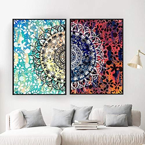 QZROOM Colorido Mandala geométrico Abstracto Lienzo póster Boho Zen Pared Arte impresión Pintura Cuadro Decorativo Moderno salón decoración-50x70cmx2 sin Marco