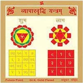 Indian Handicrafts Export Sobhagyajyotish Sampurna Vyapar Vridhi Yantra Gold Plated 8 X 8 Inches Yantra Remidial Yant