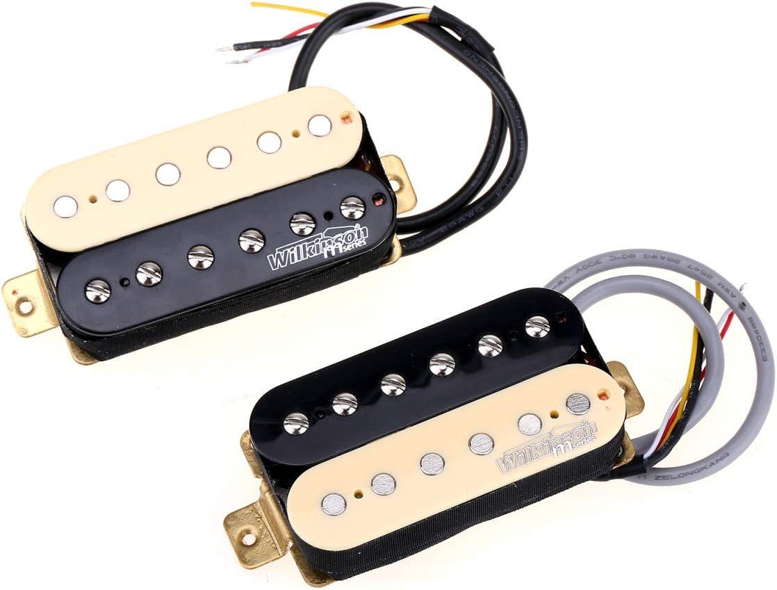 Wilkinson Tono Vintage Alnico 5 Overwound Estilo Abierto Pastillas Humbucker Pickups Set para Guitarra Eléctrica, Zebra