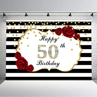 Mehofoto Happy 50th Birthday Backdrop Red Rose Flower Black and White Stripes Photo Background 7x5ft Glitter Gold Dots Diamonds Backdrops for Adults Birthday Decorations Supplies