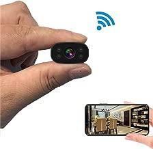 Hidden Cameras PNZEO Mini Spy Cam 1080P HD Night Vision Wireless WiFi Remote View Cameras Tiny Home Security Cameras Indoor Outdoor Camera Smart Motion Detection