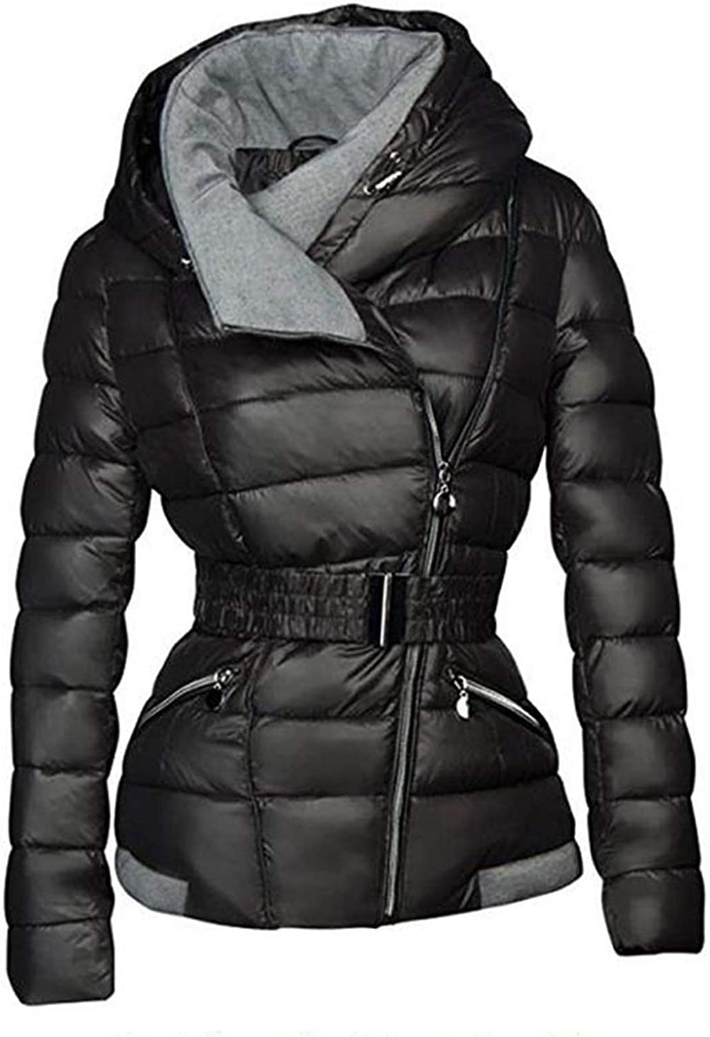 I'm good at you 2018 Winter Coats Women Parkas Cotton Warm Thick Coat with Belt Slim Casual Zipper Black Outerwear