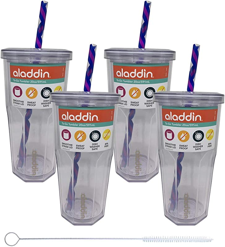 Aladdin 4 Pack Insulated Cold To Go Tumbler 20oz Includes Switx Straw Cleaner Clear