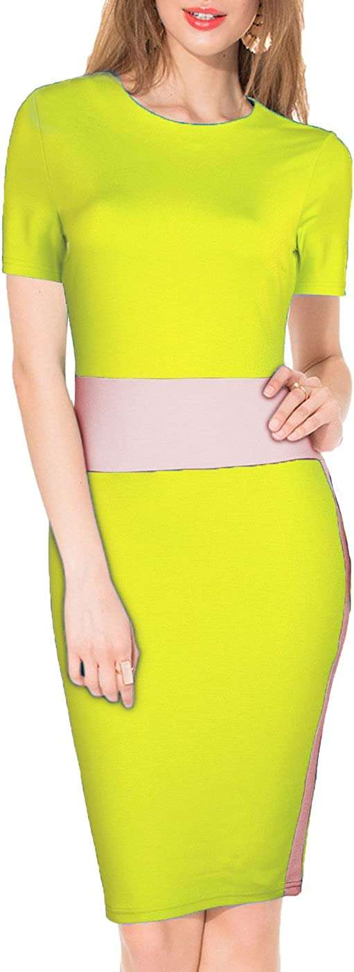 WOOSEA Women's Short Sleeve Colorblock Busniess Cocktail Party Pencil Dress