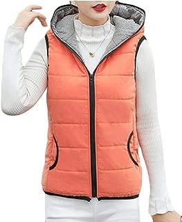 Women's Casual Zipper Front Sleeveless Outwear Hooded Vest Jacket