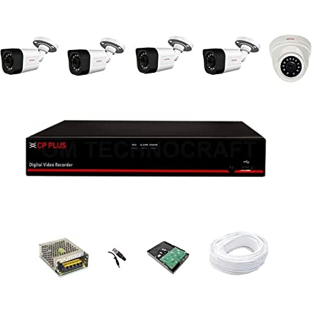 CP Plus Astra HD 8 Channel DVR with 2.4 MP 1 Dome & 4 Bullet Cameras + 2 TB Surveillance HDD + (3+1) Cable 90 Mtr + 8 CH Power Supply + BNC & DC Full Combo Kit