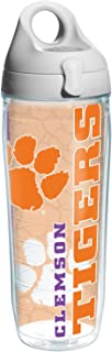 Tervis Clemson College Pride Water Bottle with Grey Lid, 24 oz, Clear