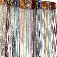 xinlinlin カーテン ストリングカーテン 多彩 幅100cm x 丈200cm ひものれん 紐のれん 7色 落ち着いた 目隠し 間仕切り 室内装飾 おしゃれ タイプ2