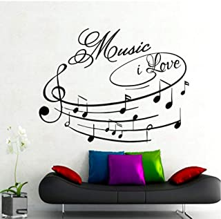 MRQXDP Music I Love Wall Decals Removable Self Adhesive Wallpaper Art Design Home Decor Wall Sticker Musical Note for Living Room 44x59cm Wandaufkleber Wand Dormitory Wall