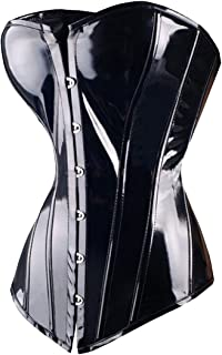 FUT Black Waist Slimming Corset Lace Up Overbust Sexy Faux Leather PVC Corsets And Bustiers Steampunk Corselet
