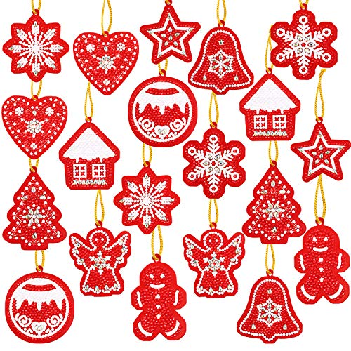 20 Pieces Valentines Day DIY Artificial Diamond Painting Gift Tags Resin Painting Handicraft Cards Winter DIY Diamond Key Chain for Family Decoration