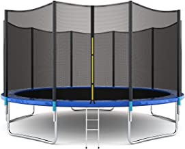 Giantex 8FT 10Ft 12Ft 14Ft 15Ft 16Ft Trampoline with Safety Enclosure Net, Spring Pad,..