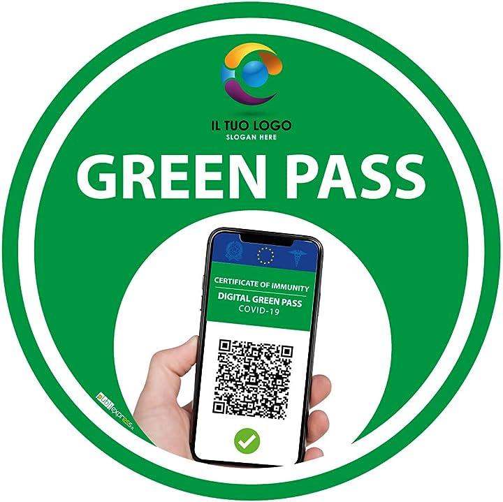 adesivo green pass - certificazione verde - accesso access (25cm) (5) bollino verde publiexpress b099x5q4z6