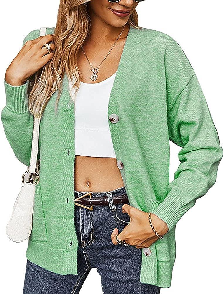 QANSI Women's Long Sleeve Button Down Vee Neck Classic Sweater Knit Cardigan