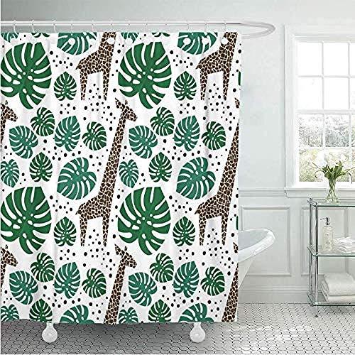 Badkamer gordijn douchegordijnen douchegordijn douchegordijn groene giraffen palmbladeren en stippen op witte jungle dieren met tropische planten Afrika badkamer decor 180 * 180Cm A